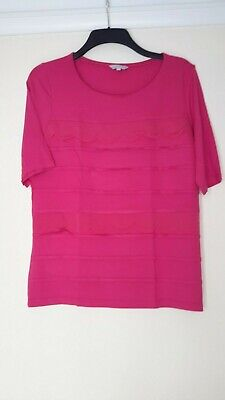 0b97ef25792 BNWOT LADIES M & S Per Una Bright Pink Stretchy Fancy Front Short Sleeve  Top 16