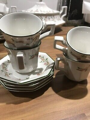 Set of 4 X Johnson Brothers Eternal Beau Espresso Coffee Cups and Saucers