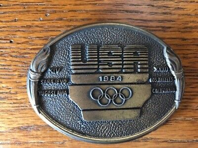 RARE Vintage 1984 USA Olympics Belt Buckle United States Olympic Committee