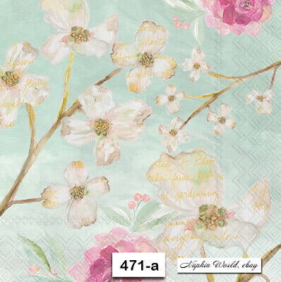 (471-a) TWO Individual Paper Luncheon Decoupage Napkins - DOGWOOD BLOOM BLOSSOMS