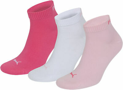 Puma Quarter Ladies short Socks 9 Pair in the Set - Pink, Rosa, White - 35-38;