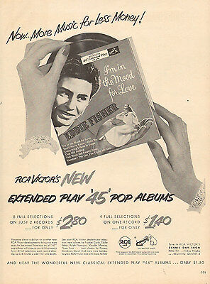 1957 Record AD RCA VICTOR Eddie Fisher Album I'm in the Mood for Love 022916