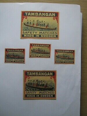 5 Old Swedish Matchbox Labels.