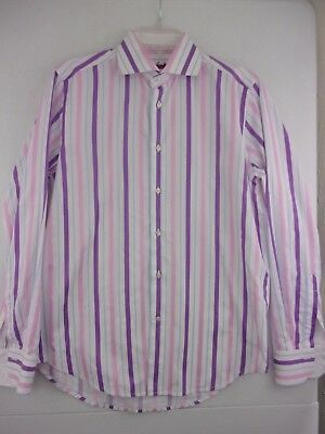 CORNELIANI MENS PINK Striped Dress Shirt Size 15 5/ 39 Italy