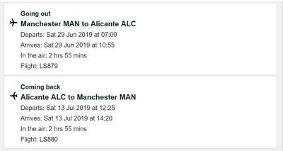 2x flights (Jet2) to Alicante from Manchester 29th of June to 13th of July 2019