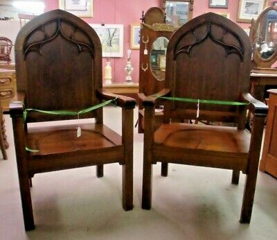 Oak High Back Large 2 Armed Chairs Throne OUTSTANDING! Original Finish Vintage