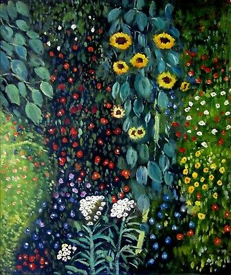 Gustav Klimt Field with Sunflowers Repro, Hand Painted Oil Painting 20x24in