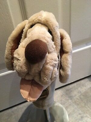 Vintage 1980's Wrinkles Dog Hand Puppet Plush Soft Toy