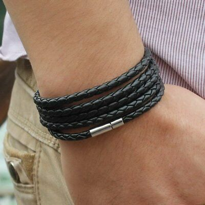 Fashion Punk Unisex Men Braided Leather Steel Magnetic Clasp Bracelet Handmade