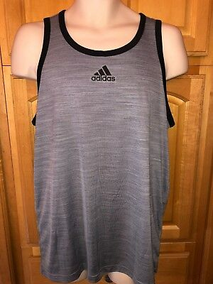 8eb2fefc03ebe NWT ADIDAS HEATHERED TANK TOP Gym Basketball Beach GREY BLACK S11542 ...