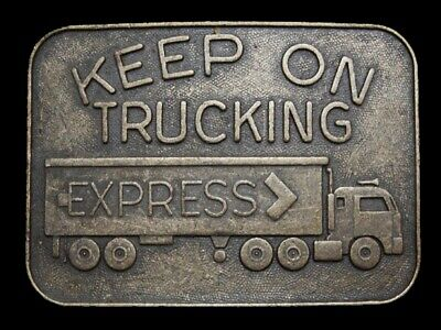 MB13146 VINTAGE 1970s **KEEP ON TRUCKING EXPRESS** FREIGHT COMPANY BELT BUCKLE