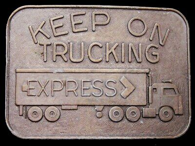 II09152 VINTAGE 1970s ***KEEP ON TRUCKING - EXPRESS CO*** BELT BUCKLE