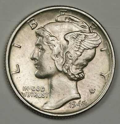 1942/1 Mercury Dime.  100%Fully Separated Horizontal Bands.  UNC.  132378