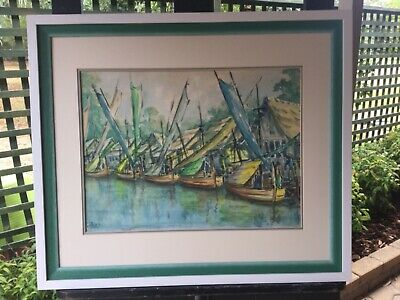 Alits Watercolour boats at Harbour Framed Painting