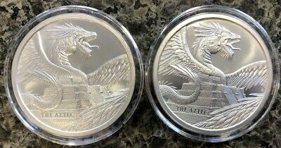 (Lot Of 2) Aztec 1 Oz Silver .999 Round World Of Dragons In Capsules Bu