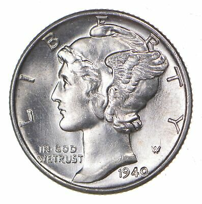 CH Unc 1940 Mercury Liberty Dime - 90% Silver - From an Original Roll! *531