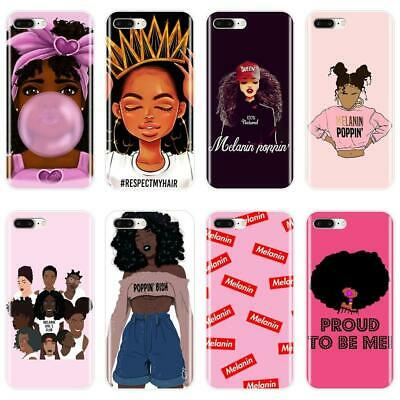 online store 50cdb f2933 MELANIN POPPIN BLACK Girl Case For iPhone X XR XS MAX Soft Silicone Back  Cover F