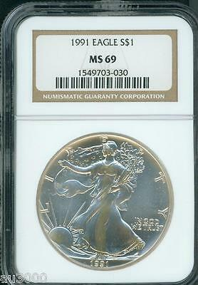 1991 American Silver Eagle S$1 ASE NGC MS69 MS-69 Premium Quality PQ+ !!!