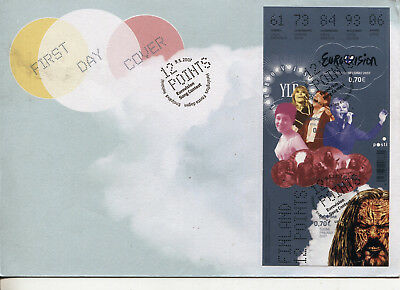 Finland - Eurovision Song Contest FDC cover mini-sheet 2007 + 2 bonus postcards