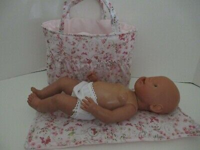 """Dolls Nappy Bag & Change pad, """" Pink Butterfly's , Flowers """""""