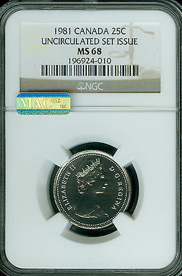 1981 Canada 25 Cents Ngc Mac Ms68 Pq  2Nd Finest Registry Spotless  *
