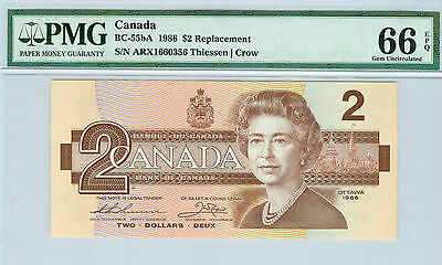 1986 CANADA $2 ARX BC-55bA REPLACEMENT THIESSEN / CROW PMG 66 EPQ