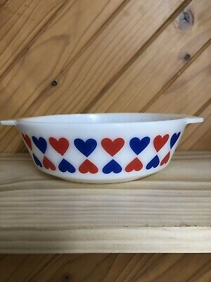 JAJ Pyrex Red Blue Hearts Danish Pattern Round Casserole Dish 509