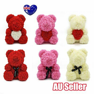 """15"""" Teddy Rose Bear /w Heart bow 2019 Valentine Birthday Gifts For Her J6"""