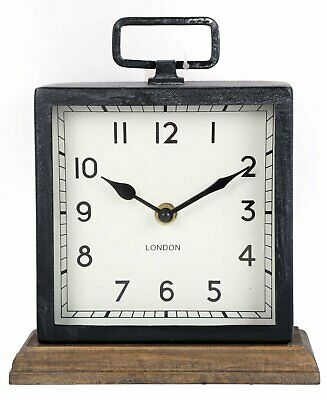 Square Vintage Free Standing Mantle Clock Carriage London Metal Frame Wood Base