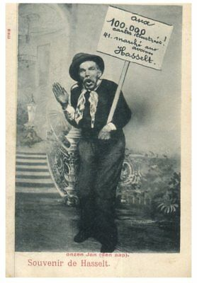 (P4) very old postcard - Humour - Souvenir Hassett (Belgium) posted from NSW