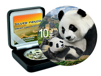 10 Yuan Argent Chine Panda 2019 Color Great Wall Edition en Boîtier et Coa