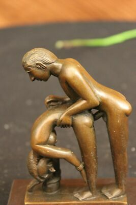 Super Deal Bronze Dual Figurine Sculpture Set Making Love Nude Sexual Oral Sale