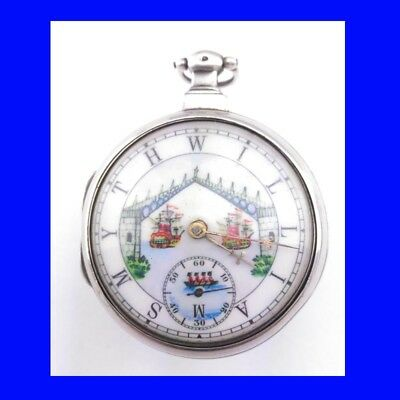 Napoleonic Silver Fusee Verge London Polychrome  Pair Case Pocket Watch, 1805
