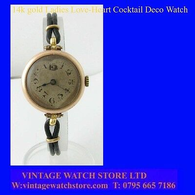 Elegant 14k Swiss Art Deco Ladies Love-Heart  Wrist Watch 1932