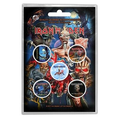 Iron Maiden Button Badge Pack: Later Albums - Pack Official Five Rock Band