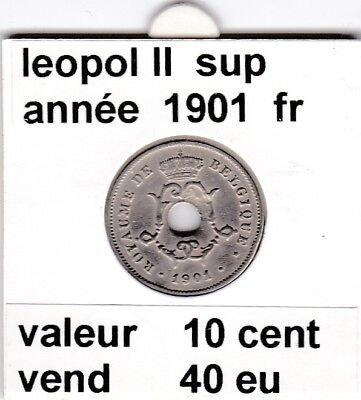 FB 2 )pieces de leopol II 10 cent  1901  belgique