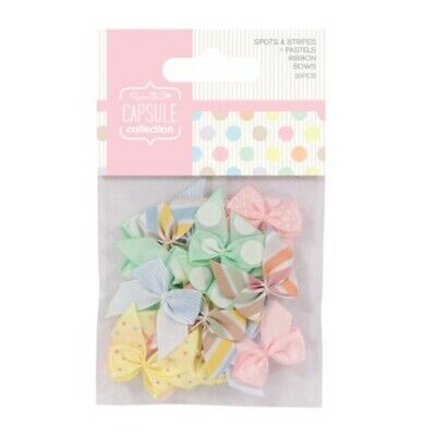 Papermania 20-piece Capsule Ribbon Bow With Spots And Stripes Pastels, - Bows
