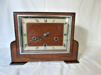 An Art Deco Mahogany Westminster Quarter Chime Mantel Clock by Edward, Glasgow