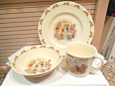 Set Of 3 Royal Doulton Bunnykins Child's Cup, Bowl, Plate--1984