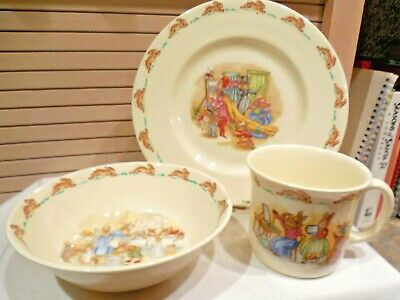 Set Of 3 Royal Doulton Bunnykins Child's Cup, Bowl, Plate--Dressing Up--1984