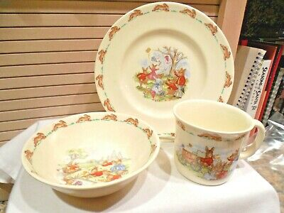 Set Of 3 Royal Doulton Bunnykins Child's Cup, Bowl, Plate--Ice Cream Man--1984