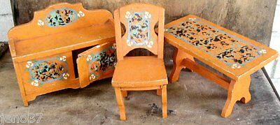 Antique Hand Painted Sponged Wood Doll Furniture Set Table, Buffet, Chair~Nice!