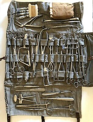 Collection of Antique Medical Surgical Instruments Carrying Case 55+ Pieces