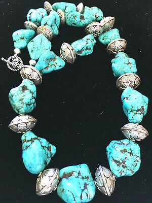 HUGE TURQUOISE NECKLACE Big Chunky NUGGETS Navajo Native American Jewelry  Silver