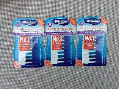 3 x 20 Brush Wisdom Clean Between Interdental Large Purple Wire Free Soft Rubber