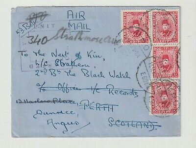 Stamps 1940 Egypt Army Post To Perth Fwwd Dundee  Postal History
