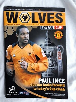 Wolverhampton wanderers v Manchester Utd football programme.  FA cup 4th Round