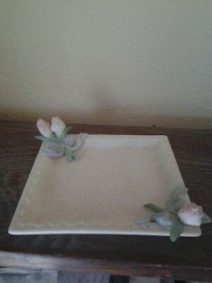 Vintage Avon Honor Society 1998-1999 Bisque Porcelain Square Dish With Rose Bud