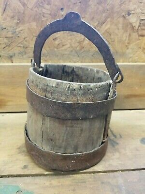 Primitive Wood & Wrought Iron Bucket Antique Water Farm Pail