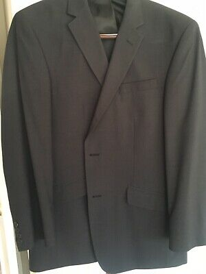 New Kenneth Cole Reaction Gray Stripped Mens Two Piece Suit Size 44R   W38 L30